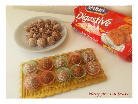 palline di biscotti digestive con cacao e cocco senza cottura